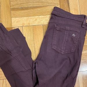 Rag and bone skinny maroon/purple jeans